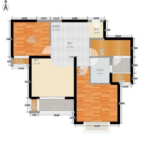 中海瀛台2室0厅1卫1厨90.00㎡户型图
