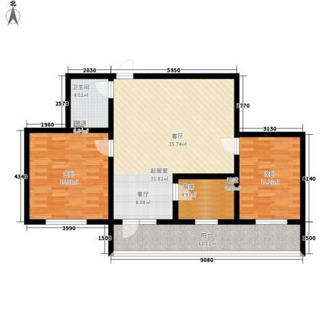 置嘉公寓2室0厅1卫1厨90.00㎡户型图