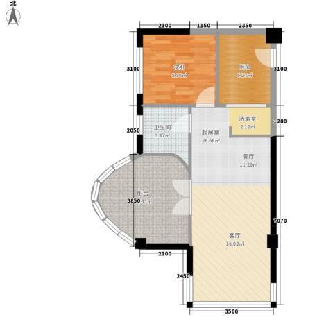海航白金汇1室0厅1卫1厨80.00㎡户型图