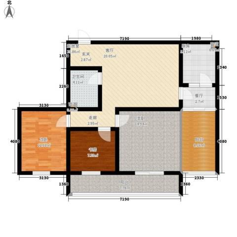 置嘉公寓3室1厅1卫1厨102.00㎡户型图