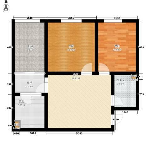 置嘉公寓2室2厅1卫1厨76.00㎡户型图