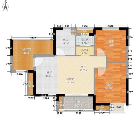 融科香山国际2室0厅1卫1厨87.00㎡户型图
