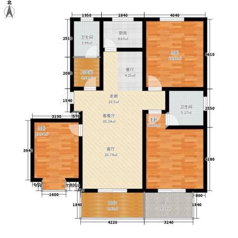 天域嘉园3室1厅3卫1厨126.00㎡户型图