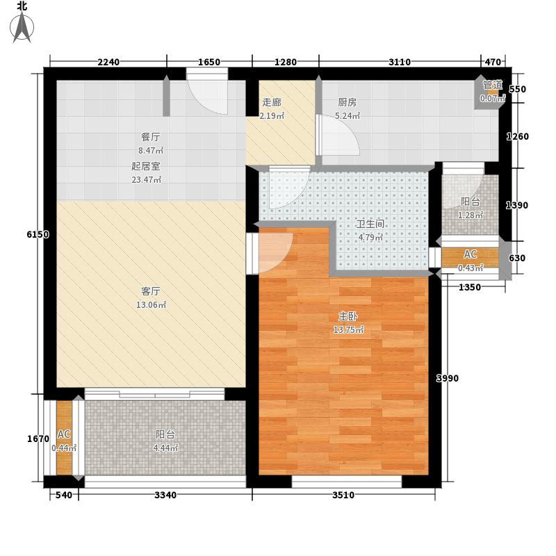 绿地崴廉公寓65.00㎡A2面积6500m户型
