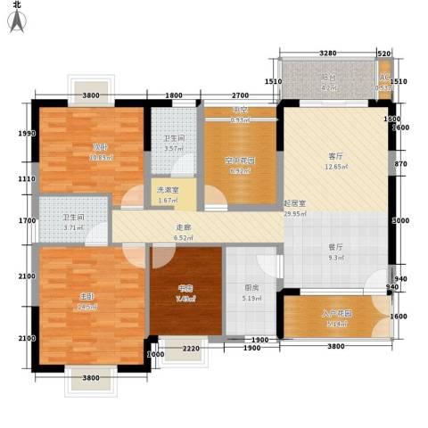鸿基橄榄君庭3室0厅2卫1厨116.00㎡户型图