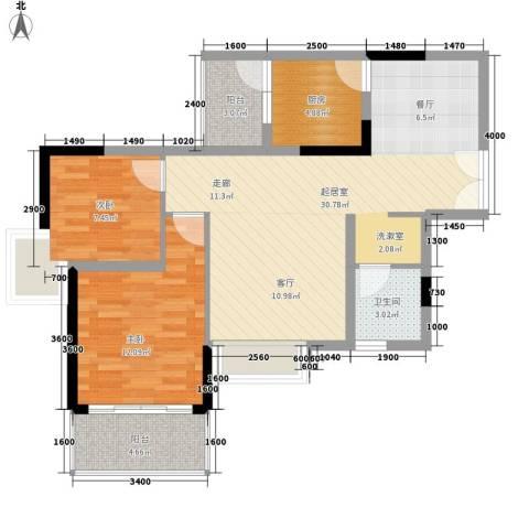 鸿基橄榄君庭2室0厅1卫1厨87.00㎡户型图