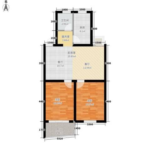 卸甲山庄2室0厅1卫1厨92.00㎡户型图