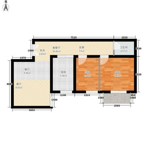 宏林名座2室1厅1卫1厨62.00㎡户型图