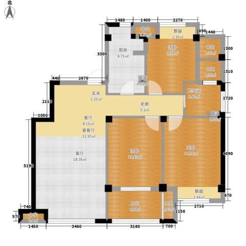 恒威国际城3室1厅1卫1厨105.00㎡户型图