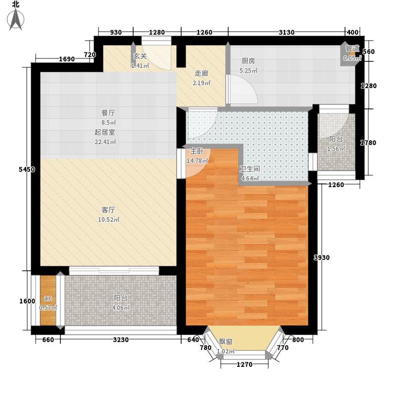 绿地崴廉公寓65.00㎡A1面积6500m户型