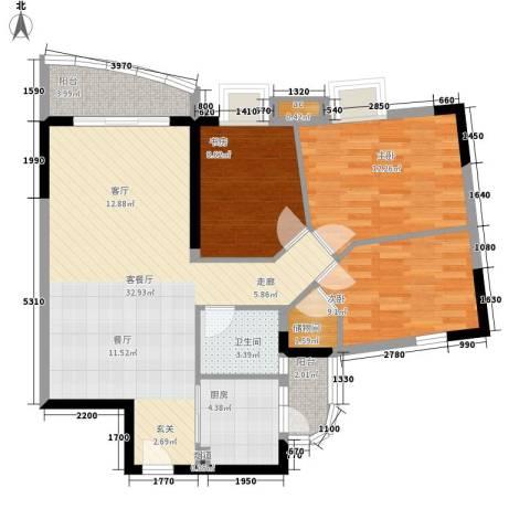 宏康东筑3室1厅1卫1厨93.00㎡户型图