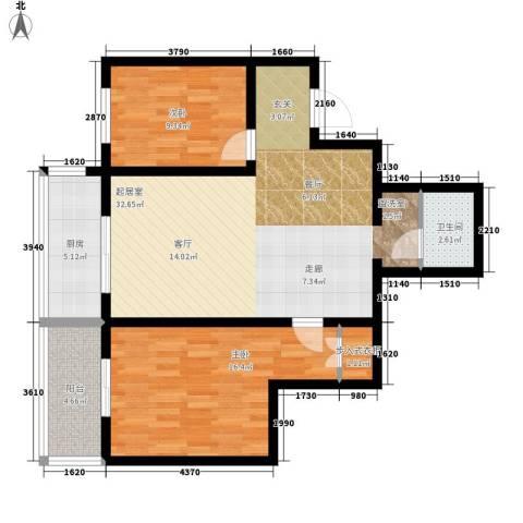 明珠花园2室0厅1卫1厨83.00㎡户型图