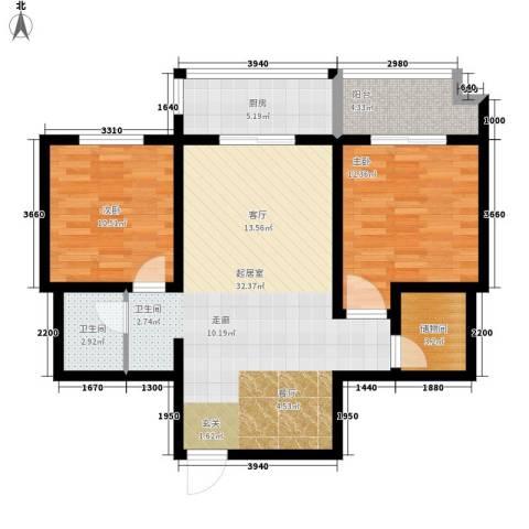 明珠花园2室0厅1卫1厨82.00㎡户型图