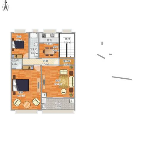 汇景蓝湾一期2室2厅2卫1厨98.00㎡户型图