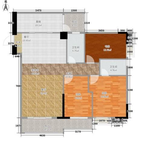 美荔心筑3室0厅2卫1厨139.00㎡户型图