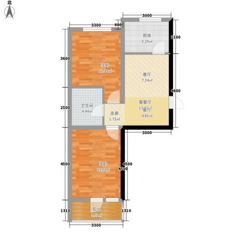 盈胜幸福里2室1厅1卫1厨74.00㎡户型图