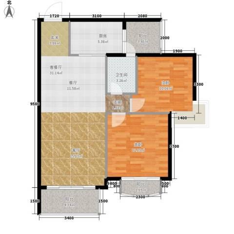 美荔心筑2室1厅1卫1厨117.00㎡户型图