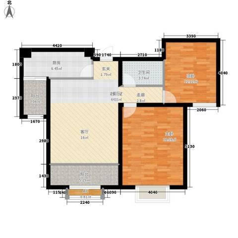 融创君澜融公馆2室0厅1卫1厨86.00㎡户型图