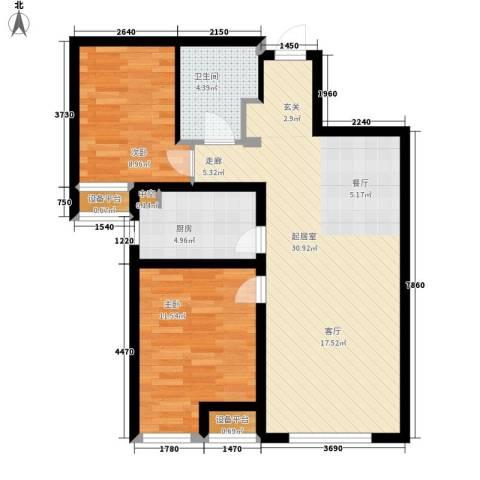 华远海蓝城2室0厅1卫1厨87.00㎡户型图