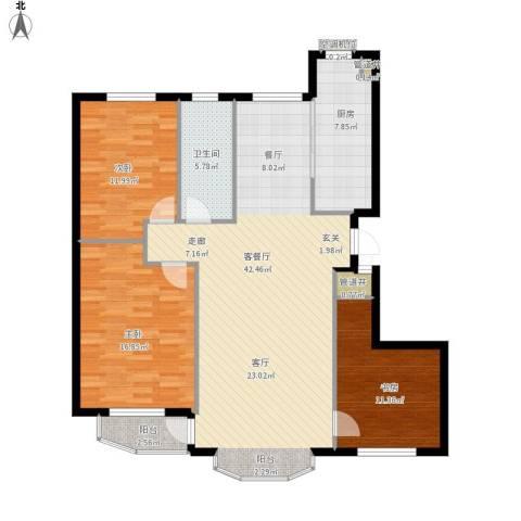 欣怡花园3室1厅1卫1厨138.00㎡户型图