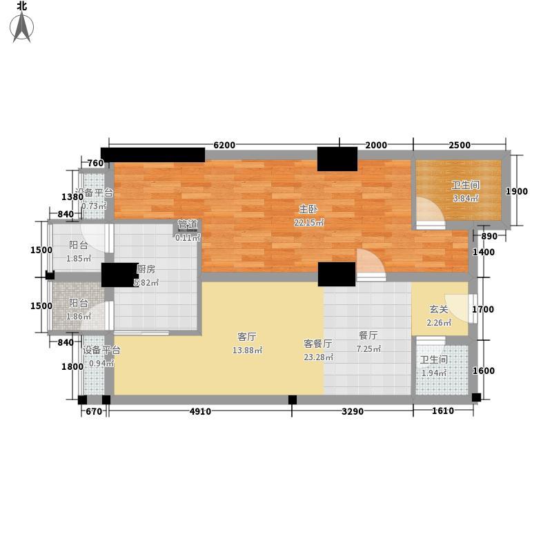 紫金乐章83.00㎡1号楼B区标准层平面图户型