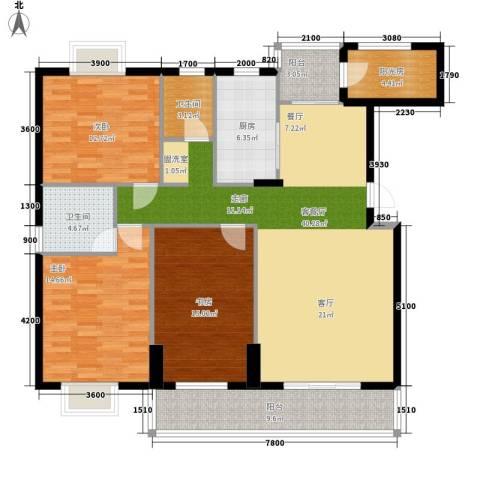 岳麓山庄华裕阁3室1厅2卫1厨160.00㎡户型图