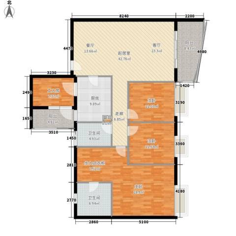 南湖半岛花园3室0厅2卫1厨150.00㎡户型图
