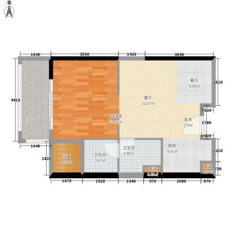 朱美拉公寓2卫0厨60.00㎡户型图