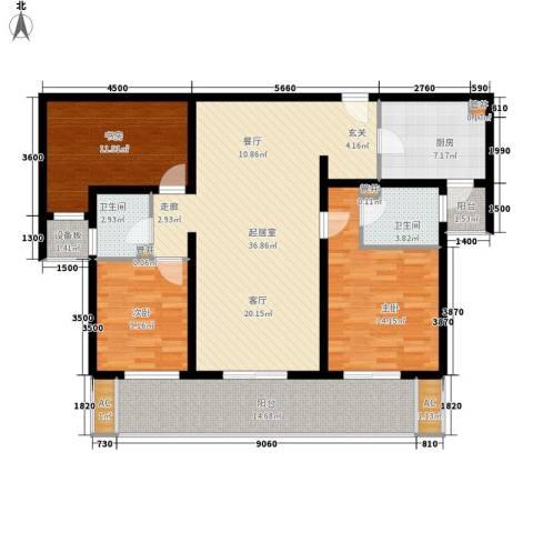 中海御湖公馆3室0厅2卫1厨125.00㎡户型图