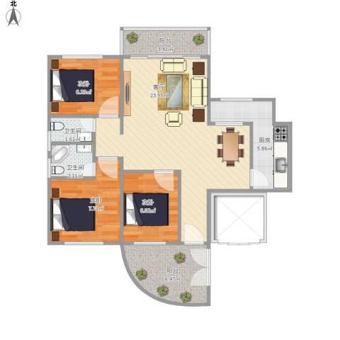 HC新城3室1厅2卫1厨87.00㎡户型图