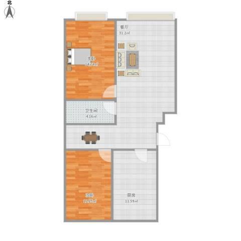 唐宁ONE2室1厅1卫1厨99.00㎡户型图