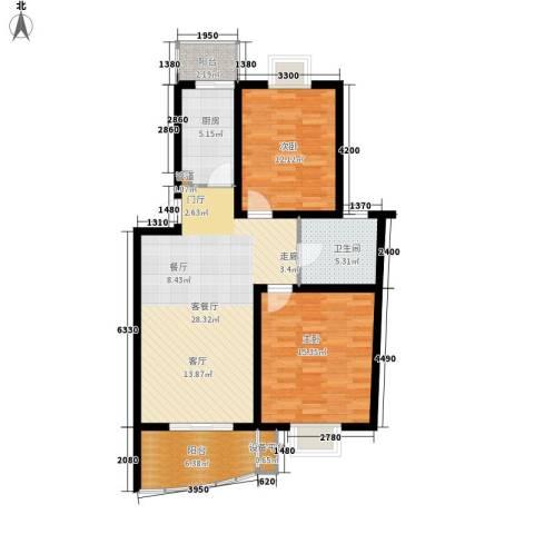 良城美景2室1厅1卫1厨108.00㎡户型图