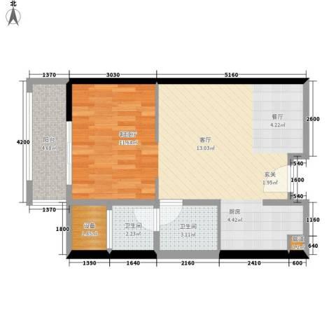 朱美拉公寓1厅2卫0厨68.00㎡户型图