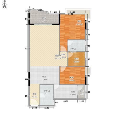 旭景家园3室1厅2卫1厨112.00㎡户型图
