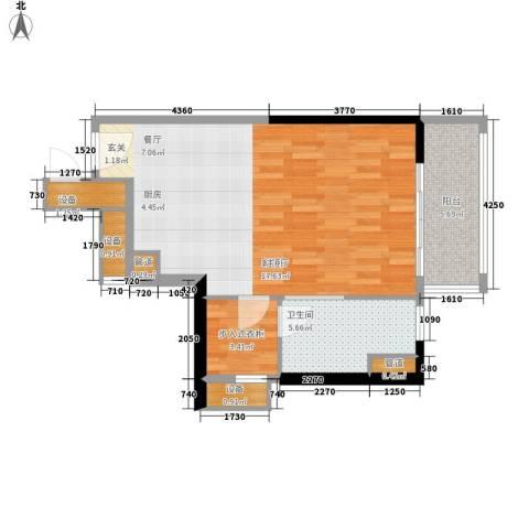 朱美拉公寓1厅1卫0厨54.00㎡户型图