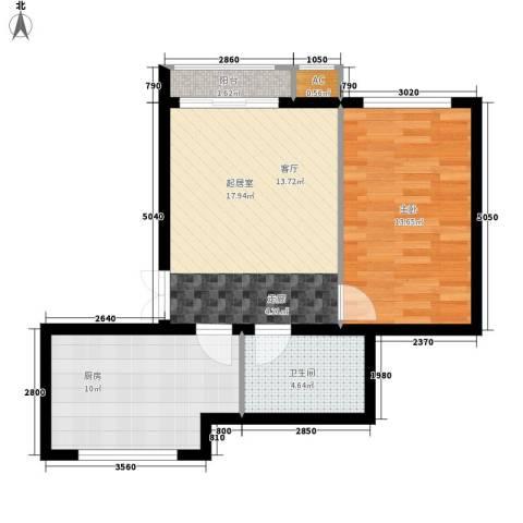 晨光国际花园1室0厅1卫1厨58.00㎡户型图