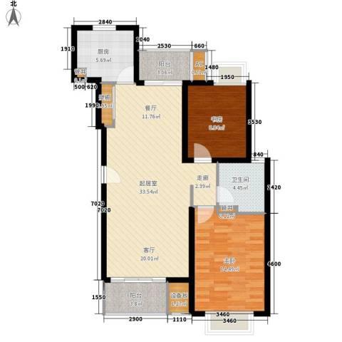 富鹏富宁路小区2室0厅1卫1厨88.00㎡户型图