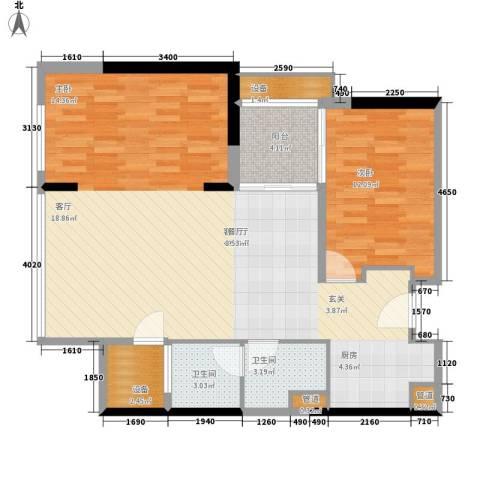 朱美拉公寓1室1厅2卫0厨86.00㎡户型图