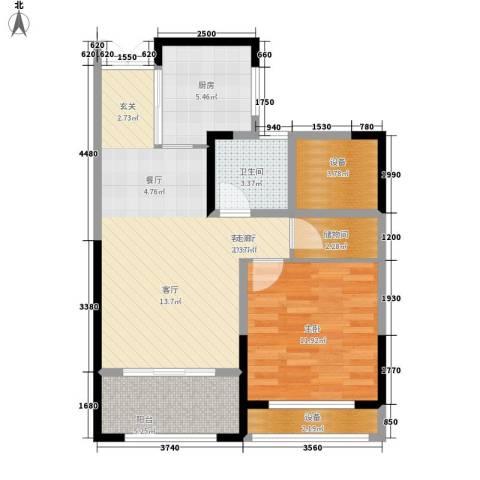 花桥裕花园1室1厅1卫1厨64.00㎡户型图