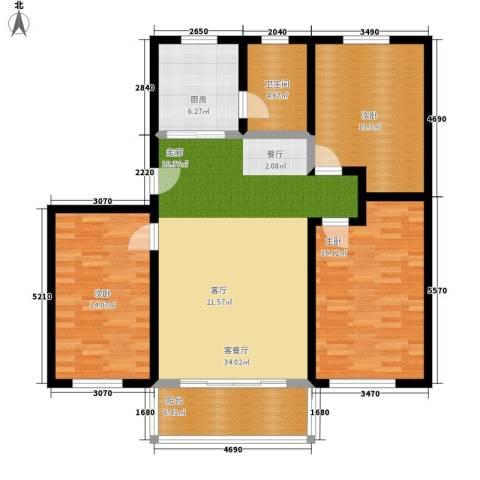 广厦新苑3室1厅1卫1厨100.00㎡户型图