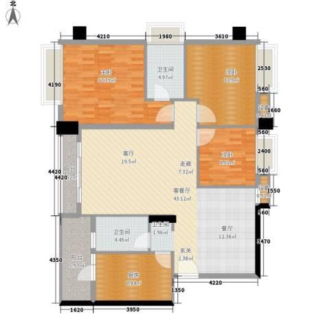 都市兰亭3室1厅2卫1厨123.00㎡户型图