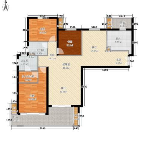 中海御湖公馆3室0厅2卫1厨149.00㎡户型图