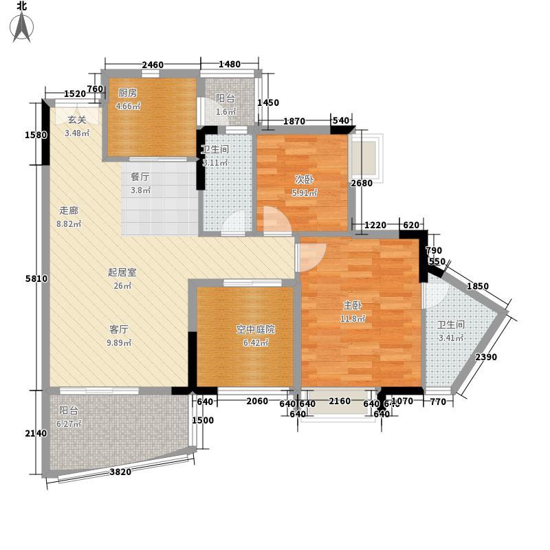 尚东尚筑85.00㎡A13栋01单元2室面积8500m户型