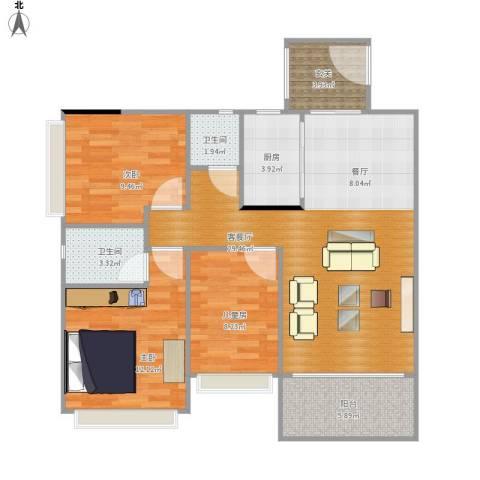 和富家园3室1厅2卫1厨106.00㎡户型图