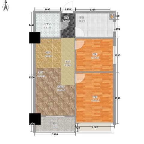 桐树湾2室1厅1卫1厨85.06㎡户型图
