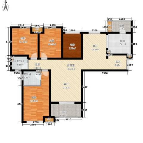 中海御湖公馆4室0厅2卫1厨142.00㎡户型图