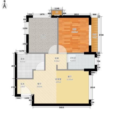 翠屏紫气钟山2室0厅1卫1厨67.00㎡户型图