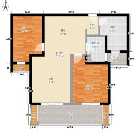 中海御湖公馆2室0厅1卫1厨95.00㎡户型图