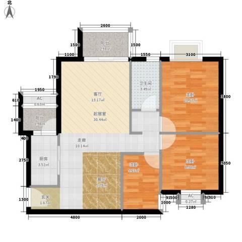 云景名都3室0厅1卫1厨96.00㎡户型图