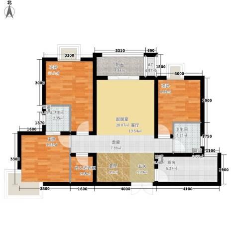祥和雅居3室0厅2卫1厨88.40㎡户型图